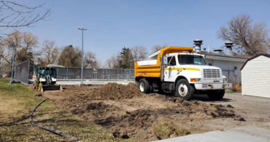 City of Shelley Public Works crews work on pool upgrades.   Mike Price, Community Pioneer