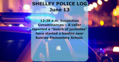 The Shelley Police Log: June 9-16